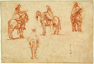 Four Horsemen Drawing - Jacques Callot, Study Of Four Horsemen, French by Litz Collection