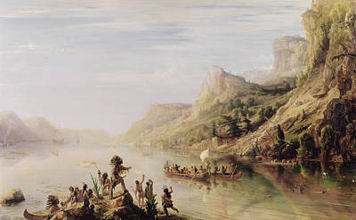 Canoe Photograph - Jacques Cartier 1491-1557 Discovering The St. Lawrence River In 1535, 1847 Oil On Canvas by Jean Antoine Theodore Gudin