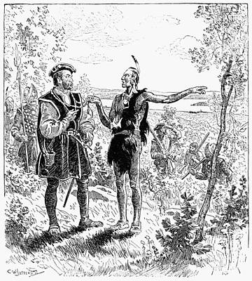 Huron Indian Drawing - Jacques Cartier (1491-1577) by Granger