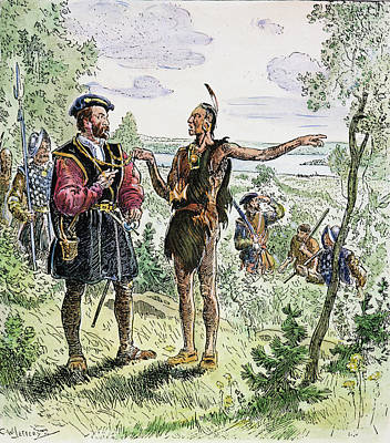 Huron Indian Drawing - Jacques Cartier At The Huron-iroquois by Granger