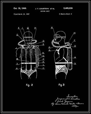 Jacques Digital Art - Jacques Cousteau Diving Gear Patent - Black by Finlay McNevin