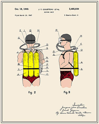 Jacques Digital Art - Jacques Cousteau Diving Gear Patent - Colour by Finlay McNevin