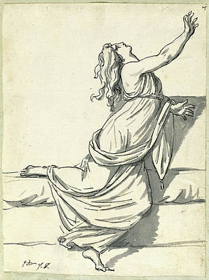 80 Drawing - Jacques-louis David, A Distraught Woman With Her Head by Quint Lox