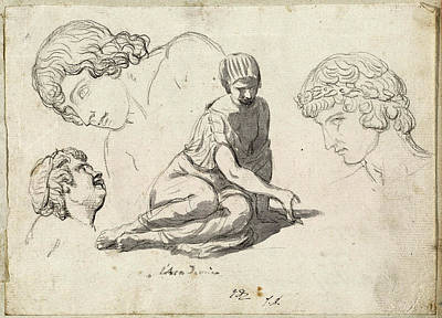 Jacques-louis David, Dice-thrower And Other Studies Art Print