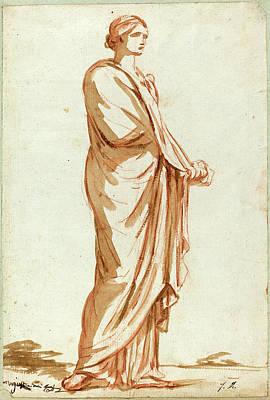 Jacques-louis David, French 1748-1825, Roman Statue Art Print