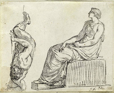 80 Drawing - Jacques-louis David, Seated Woman And Man Sprawling by Quint Lox