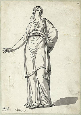 Wash Drawing - Jacques-louis David, Woman From The Villa Pamphili by Litz Collection