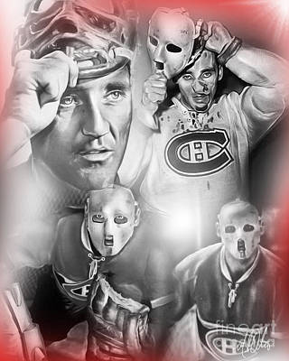 Hockey Painting - Jacques Plante by Mike Oulton