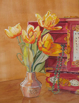 Floral Still Life Painting - Jade And Tulips by Jenny Armitage