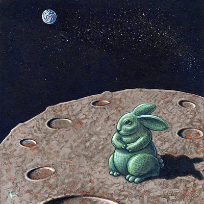 Painting - Jade Rabbit On The Moon by Holly Wood