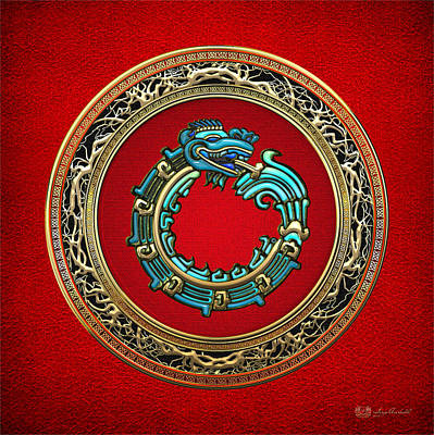 Digital Art - Jade Serpent God Quetzalcoatl  by Serge Averbukh