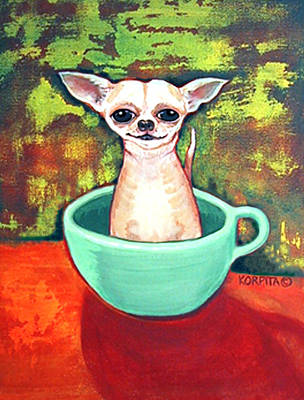 Chiwawa Portrait Wall Art - Painting - Jadite Fireking Teacup Chihuahua by Rebecca Korpita