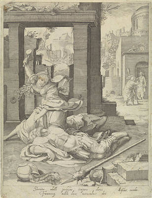 Dilapidated Drawing - Jael And Sisera, Anonymous, Jan Saenredam by Jan Saenredam And Claes Jansz. Visscher (ii)
