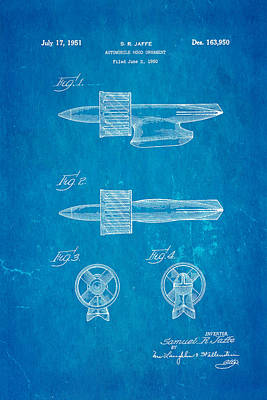 Jaffe Hood Ornament Patent Art 1951 Blueprint Art Print by Ian Monk
