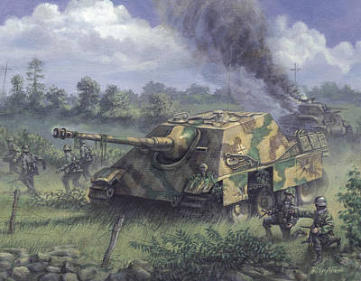 Wehrmacht Painting - Jagdpanther In Normandy 1944 by Philip Arena