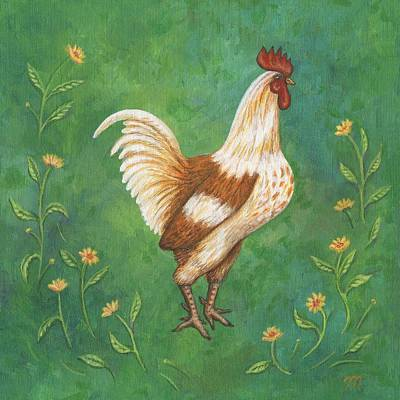 Chickens Painting - Jagger The Rooster by Linda Mears