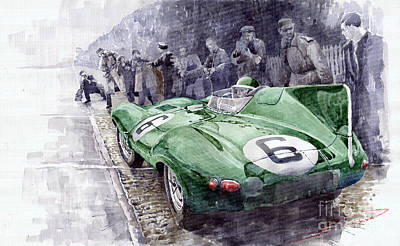 Watercolor Sports Painting - Jaguar D-type  1955 Le Mans  by Yuriy Shevchuk