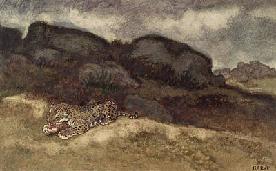 Wildlife Landscape Painting - Jaguar Devouring Its Prey by Antoine Louis Barye