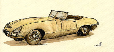 Jaguar Art Painting - Jaguar E Type Cabrio by Juan  Bosco