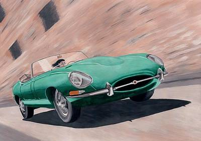 Painting - Jaguar E Type by Milan Surkala