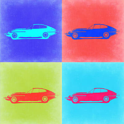 Old Cars Painting - Jaguar E Type Pop Art 2 by Naxart Studio