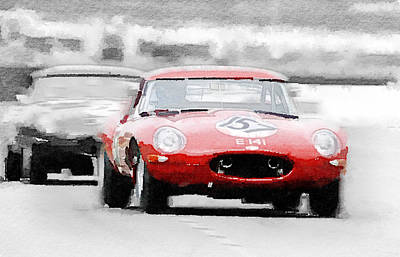 Jaguar E-type Racing Watercolor Art Print by Naxart Studio