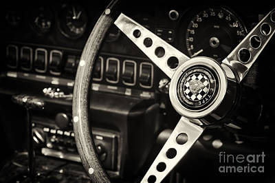Photograph - Jaguar E Type Steering Wheel   by Tim Gainey