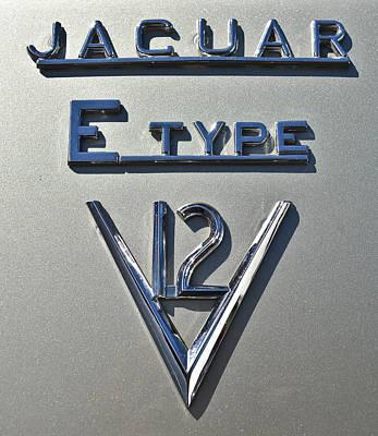 Photograph - Jaguar E Type V12 Logo by Ronda Broatch