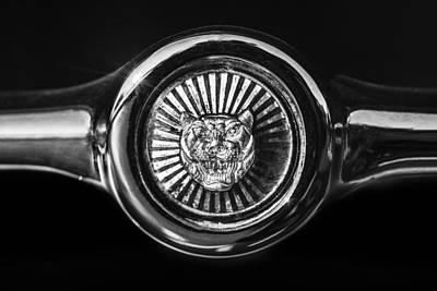 Photograph - Jaguar Grille Emblem -0004bw by Jill Reger