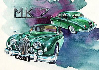 British Classic Cars Painting - Jaguar Mk2 by Yoshiharu Miyakawa