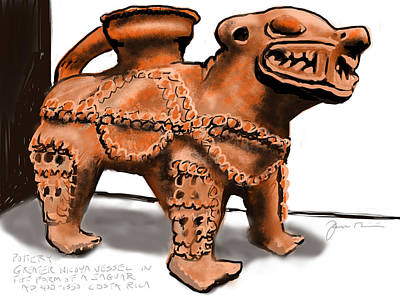 Jaguar Pottery Art Print by Jean Pacheco Ravinski