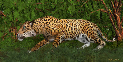 Digital Art - Jaguar Stalking Prey by Walter Colvin