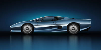 Art Print featuring the digital art Jaguar Xj220 - Azure by Marc Orphanos