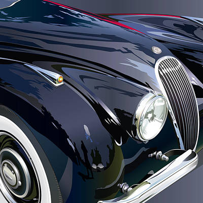 Jaguar Xk 120se R Detail Art Print by Alain Jamar