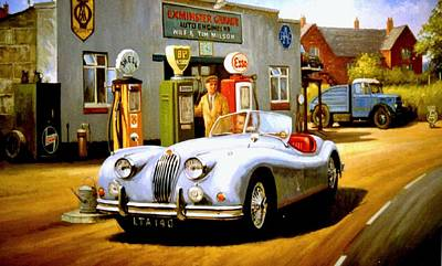 Jaguar Xk 140 Art Print by Mike  Jeffries