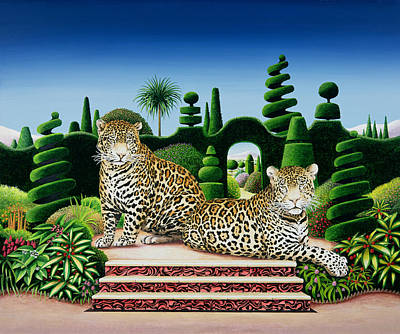 Wild Animals Painting - Jaguars In A Garden by Anthony Southcombe