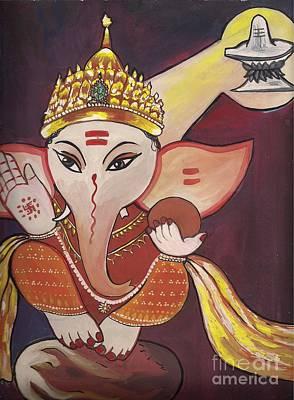 Jai Ganesha Print by Artist Nandika  Dutt