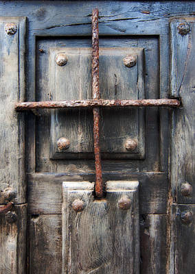 Photograph - Vintage Solid Wood Door With Metal Nails And Metal Grille - Jail Of My Life  by Pedro Cardona