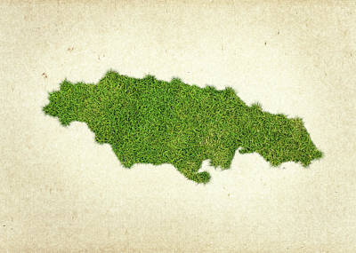 Jamaica Grass Map Art Print by Aged Pixel
