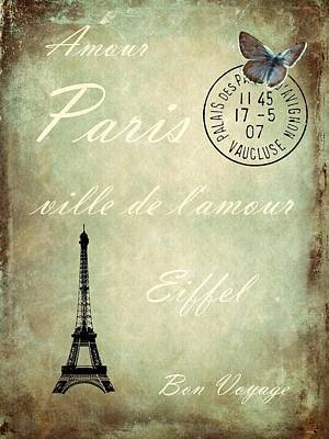Eiffel Tower Mixed Media - J'aime La France by Sharon Lisa Clarke