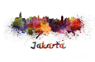Indonesia Painting - Jakarta Skyline In Watercolor by Pablo Romero