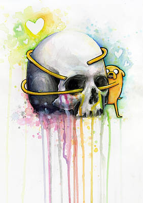 Skull Painting - Jake The Dog Hugging Skull Adventure Time Art by Olga Shvartsur