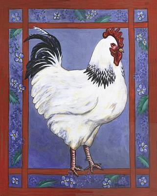 Birds Painting - Jake The Rooster by Linda Mears