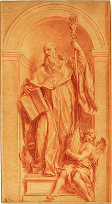 Frey Drawing - Jakob Frey, Swiss 1681-1752, A Sculpture Of Saint Benedict by Litz Collection