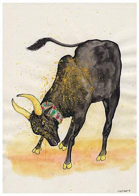 Tamilnadu Painting - Jallikattu Bull At Tamil Sand by Sugumar Je