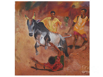 Tamilnadu Painting - Jallikattu by Vignesh Kumar