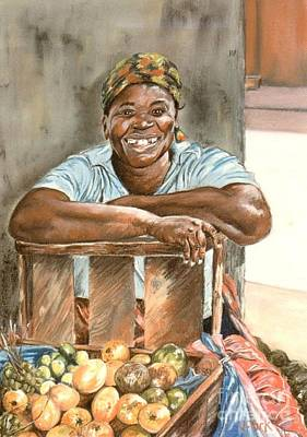 Jamaican Fruit Seller Print by John Clark