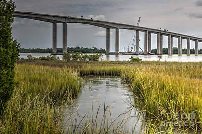 Photograph - James B Edwards Bridge Repair by Dale Powell