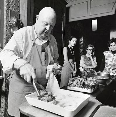 Raw Photograph - James Beard During Cooking Lesson by Ernst Beadle