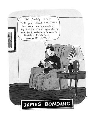 Bonding Drawing - James Bonding by Danny Shanahan